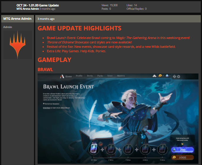 MTG Arena Oct 24 1.01.00 game update notes