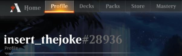 MTG Arena Profile tab