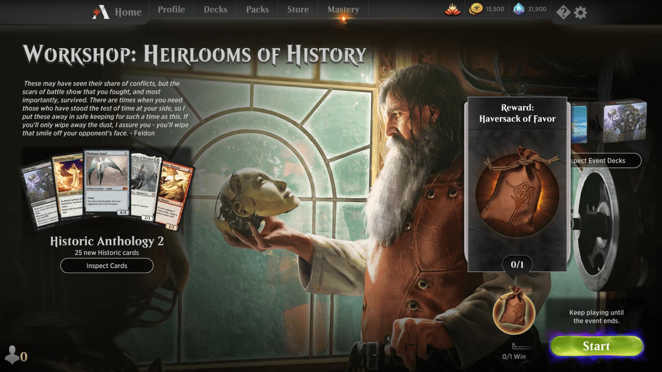 MTG Arena Workshop Heirlooms of History event screen