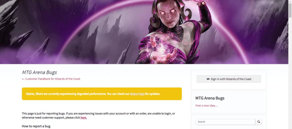 MTG Arena bug page