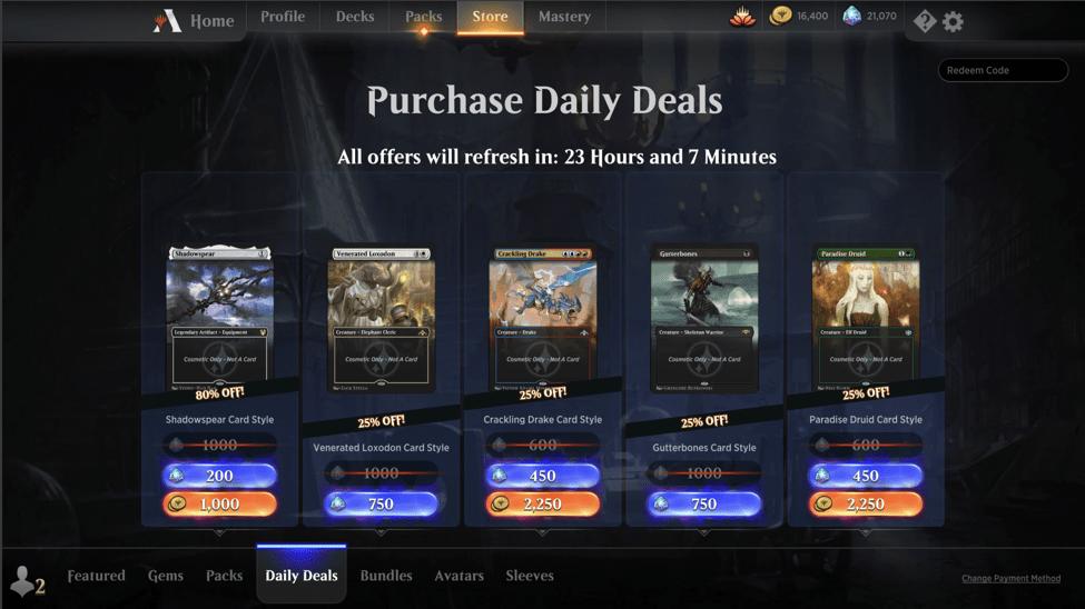 MTG Arena daily deals
