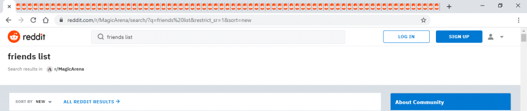 MTG Arena subreddit friends list post tabs