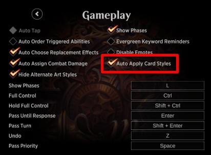 MTG Arena gameplay artstyle options