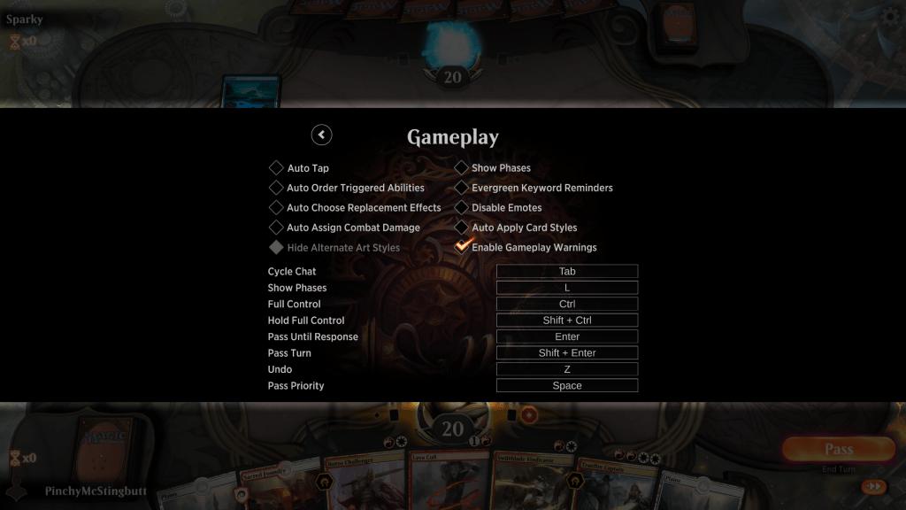 MTG Arena gameplay warning options