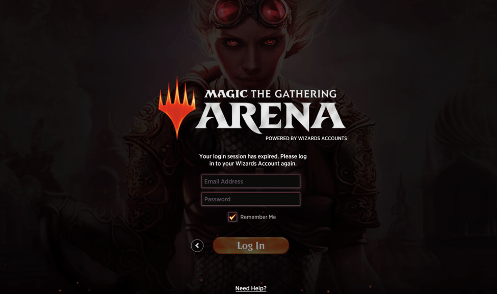 MTG Arena log in page