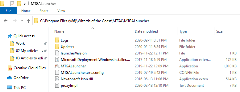 MTGALauncher folder on PC