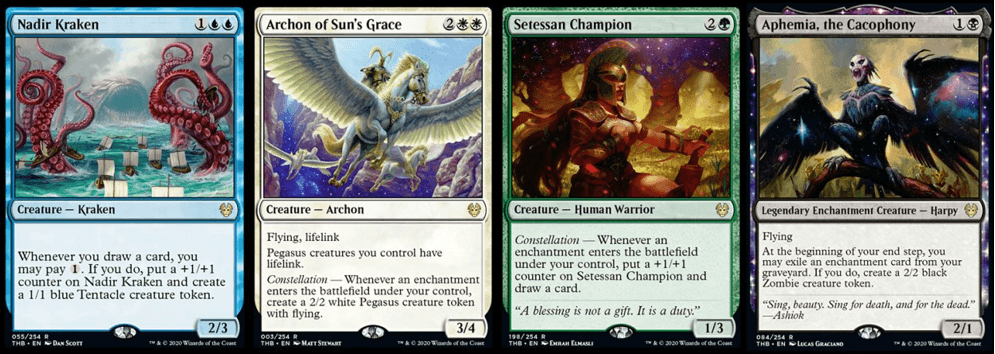Nadir Kraken, Archon of Sun's Grace, Setessan Champion, and Aphemia the Cacophony MTG cards