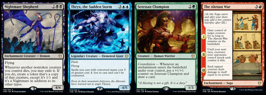 Nightmare Shepherd, Thryx the Sudden Storm, Setessan Champion, and The Akroan War MTG cards