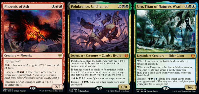 Phoenix of Ash, Polukranos Unchained, and Uro Titan of Nature's Wrath MTG cards
