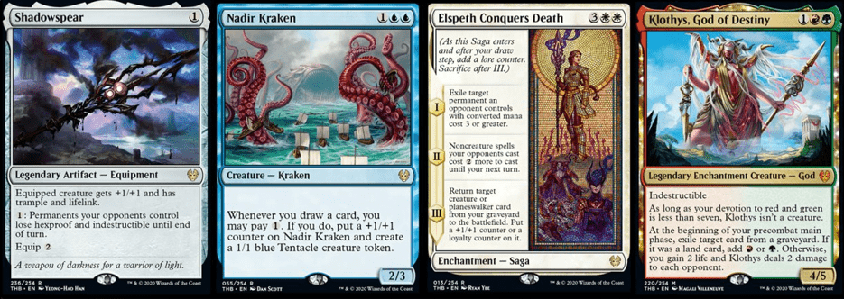 Shadowspear, Nadir Kraken, Elspeth Conquers Death, and Klothys God of Destiny MTG Cards