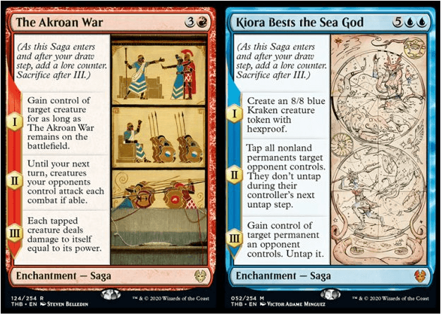 The Akroan War and Kiora Bests the Sea God MTG cards