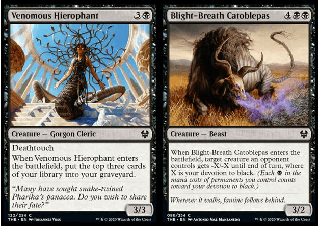 Venomous Hierophant and Blight-Breath Catoblepas MTG cards