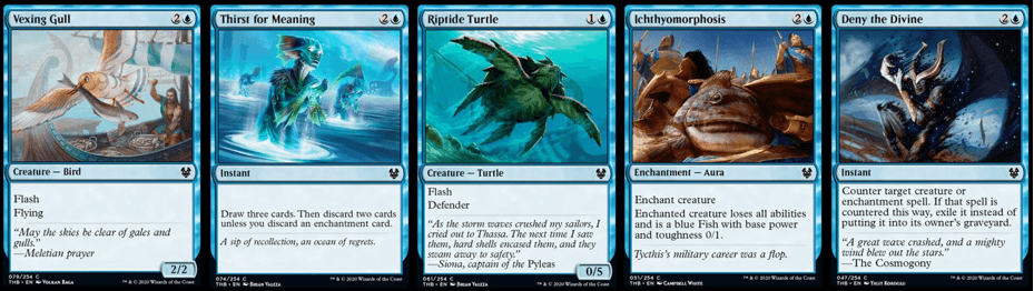 Vexing Gull, Thirst for Meaning, Riptide Turtle, Ichthyomorphosis, and Deny the Divine MTG cards