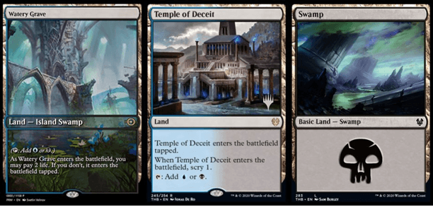 Watery Grave, Temple of Deceit, and THB Swamp MTG cards