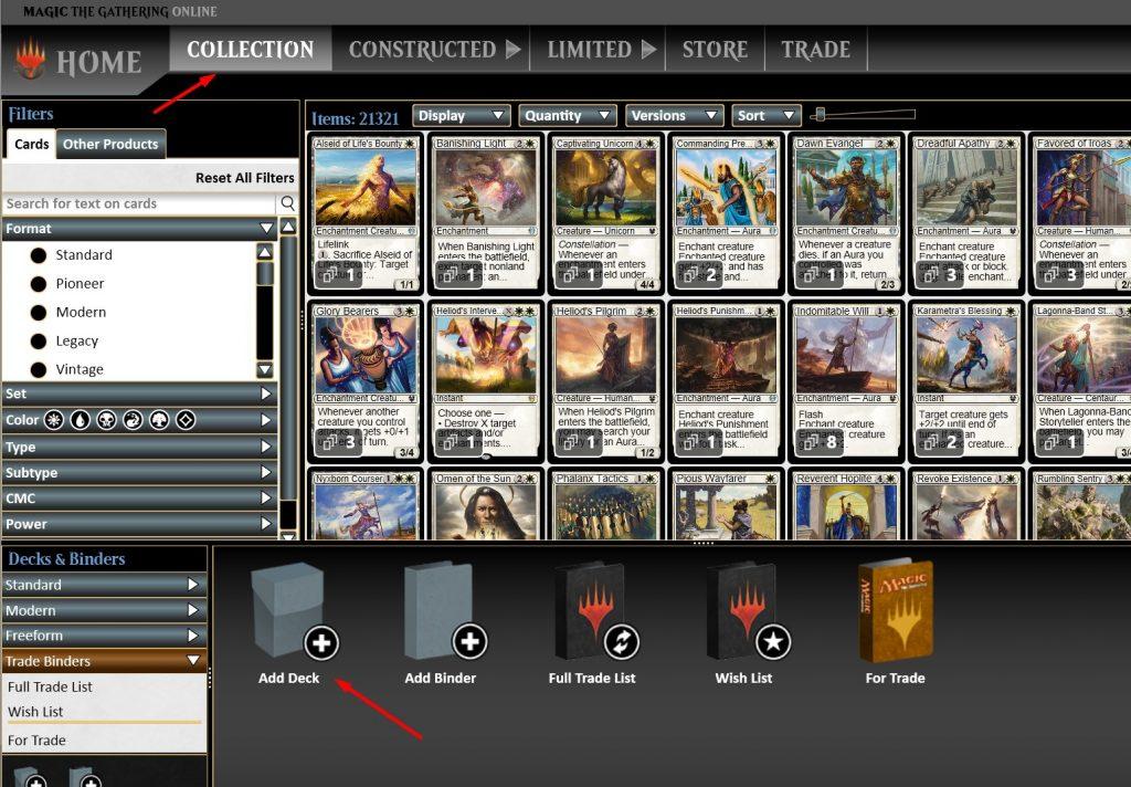 Add deck on Magic Online