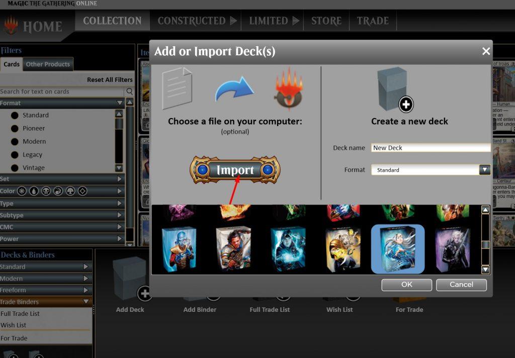 Import deck into Magic Online