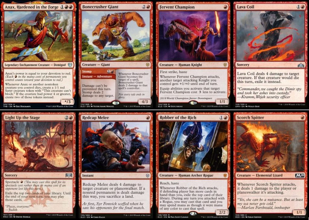 Anax Hardened in the Forge, Bonecrusher Giant, Fervent Champion, Lava Coil, Light Up the Stage, Redcap Melee, Robber of the Rich, and Scorch Spitter MTG cards
