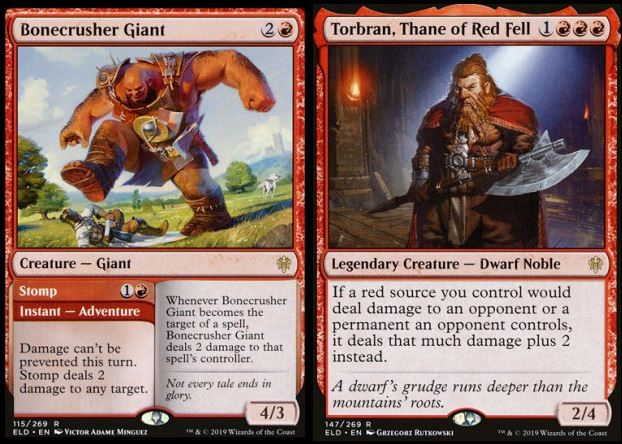 Bonecrusher Giant and Torbran, Thane of Red Fell MTG cards