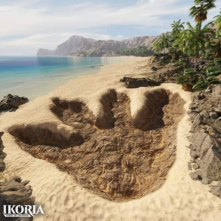 Ikoria promotional art with dinosaur footprint on tropical island