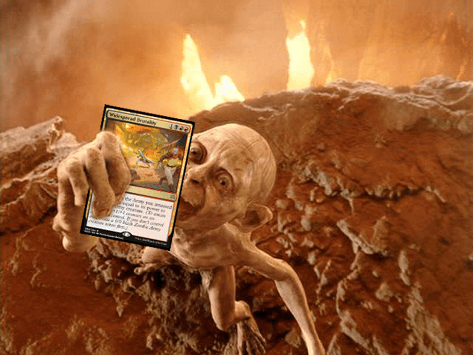 LotR Gollum holding Widespread Brutality MTG card