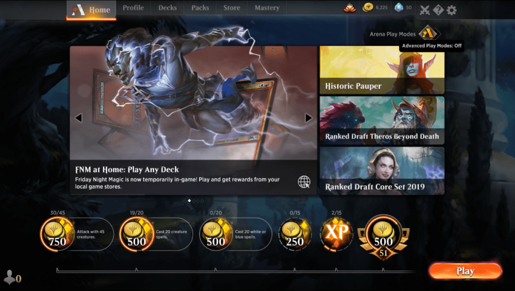 MTG Arena homepage Play Modes button