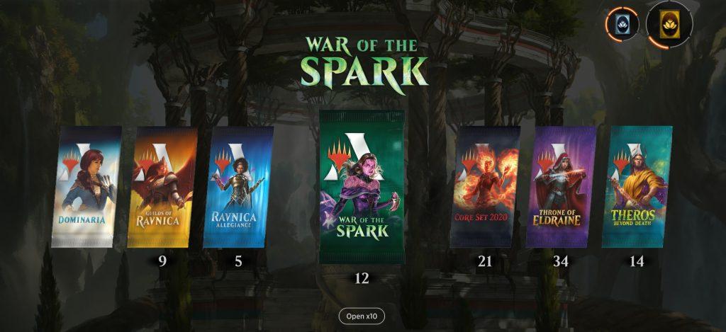 MTG Arena packs screen