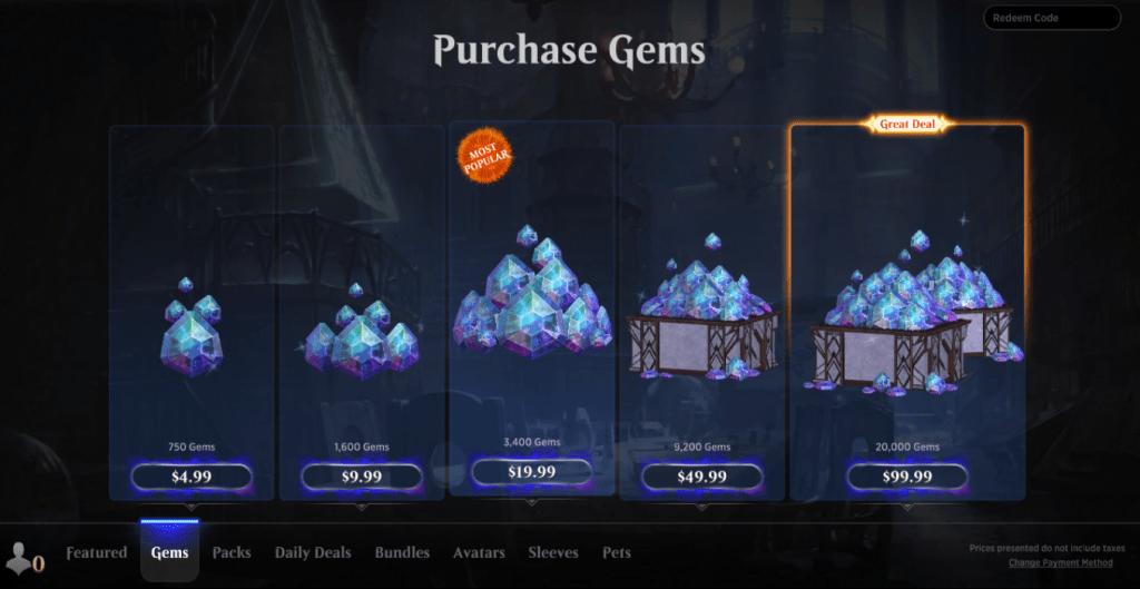 MTG Arena store gems