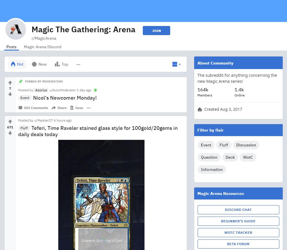 MagicArena subreddit screenshot