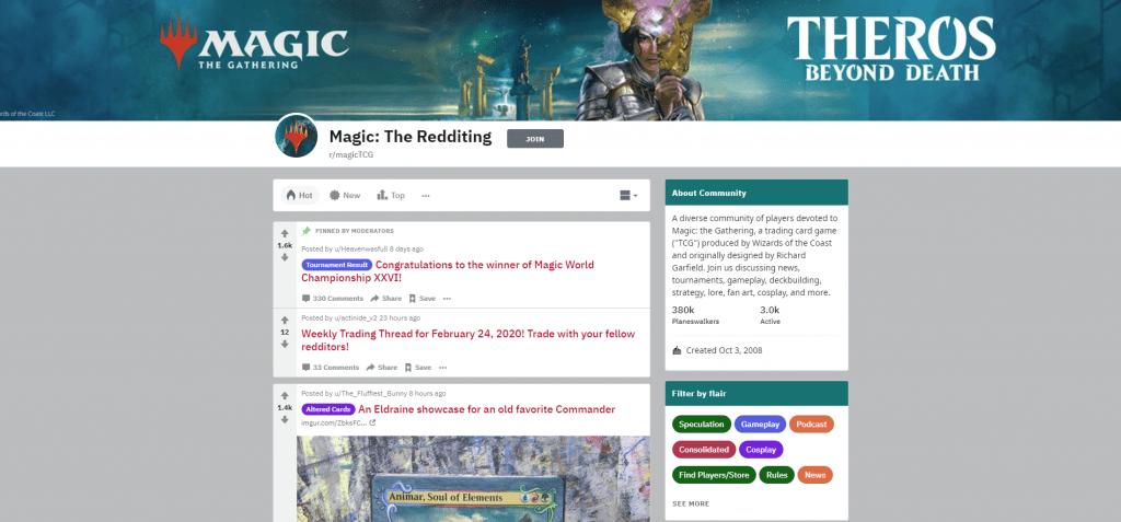 MagicTCG subreddit screenshot