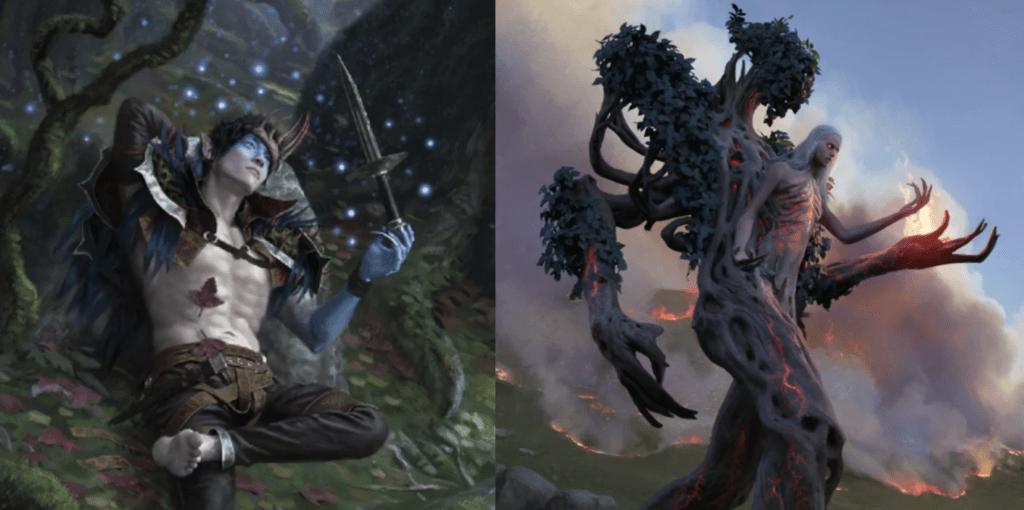 Oko, Thief of Crowns (Yongjae Choi) and Wrenn and Six (Chase Stone) MTG card art