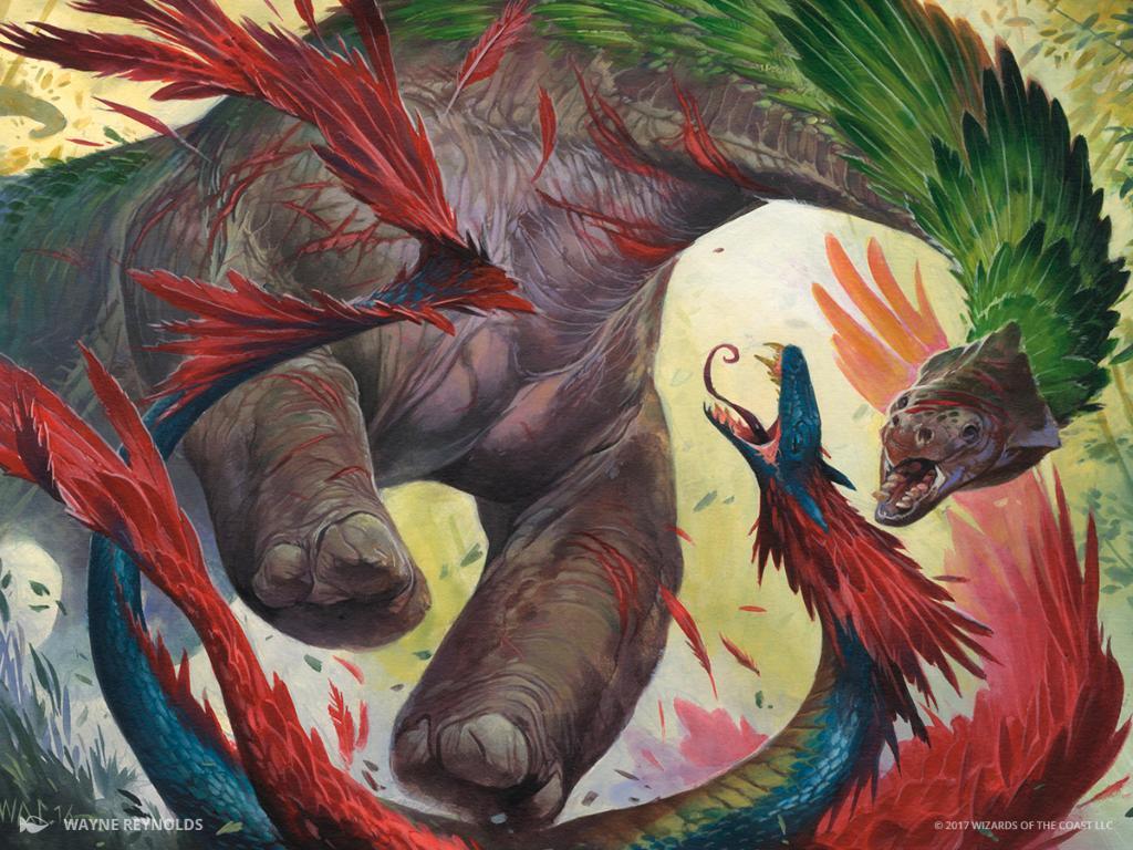 Savage Stomp MTG card art by Wayne Reynolds