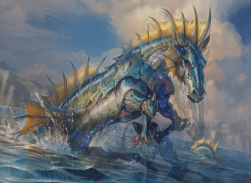 Wavebreak Hippocamp MTG card art by Caio Monteiro