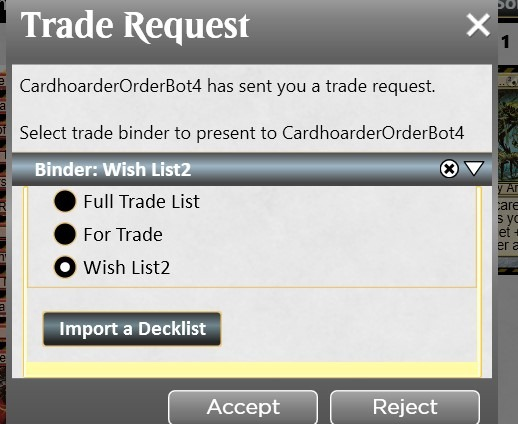 Loading a wishlist for trade