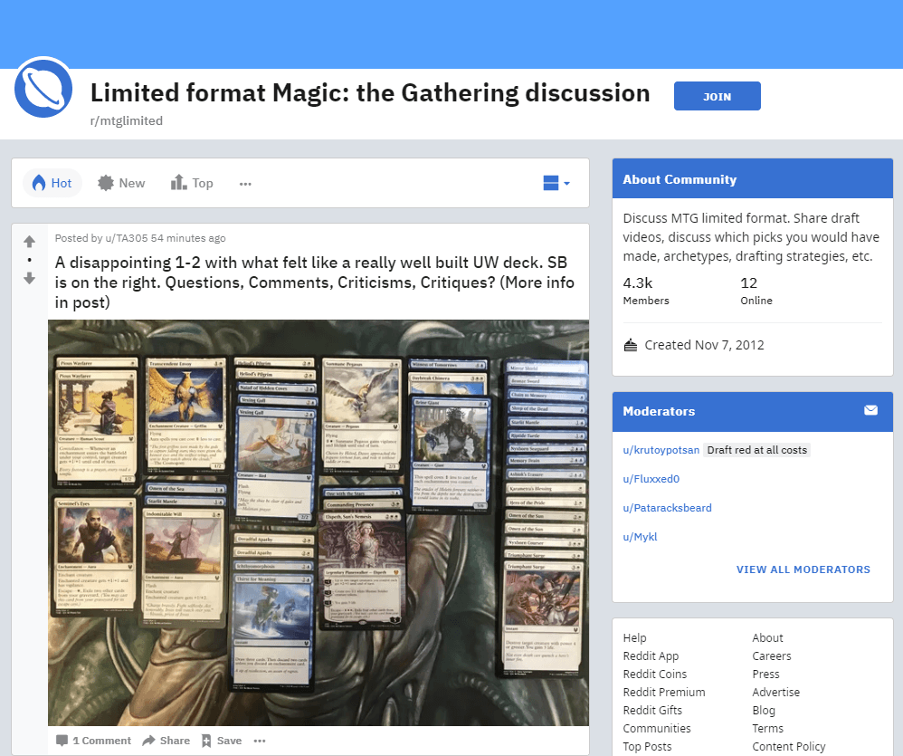 mtglimited subreddit screenshot