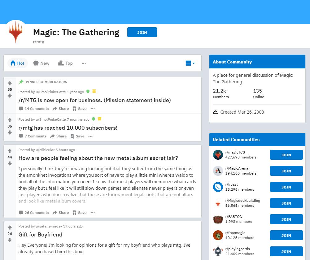 r/mtg subreddit main page