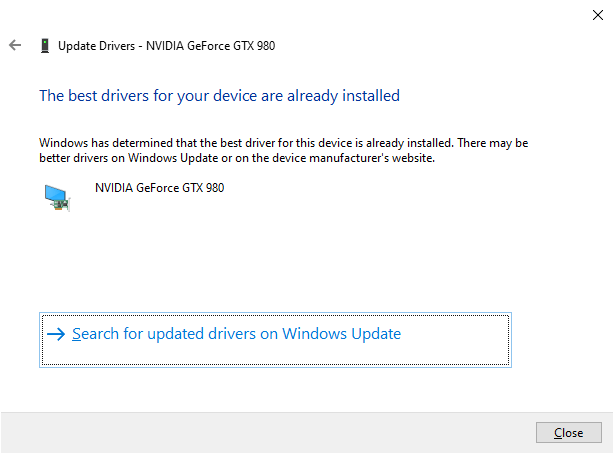 Device Manager no NVIDIA updates message