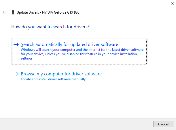 Device Manager update NVIDIA driver pop-up