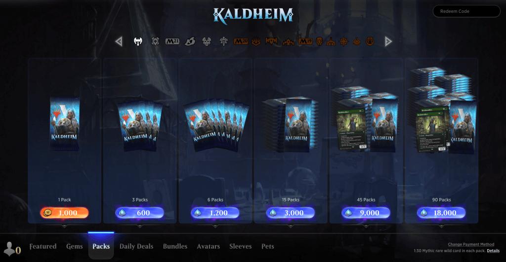 Kaldheim packs in MTGA store