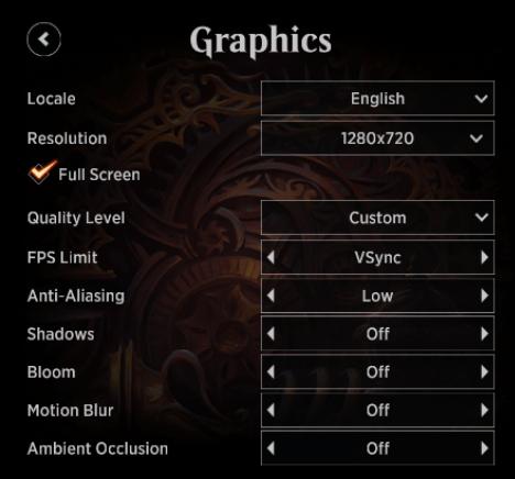 MTG Arena Graphics menu Custom Quality Level options