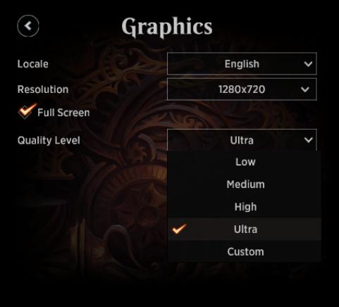 MTG Arena Graphics menu Quality Level drop-down options