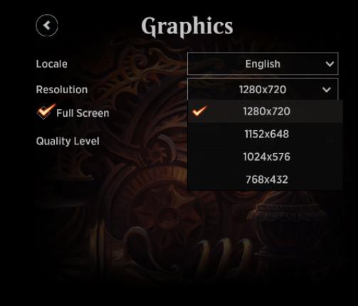 MTG Arena Graphics menu Resolution drop-down options