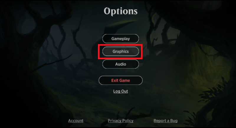 MTG Arena options menu Graphics button