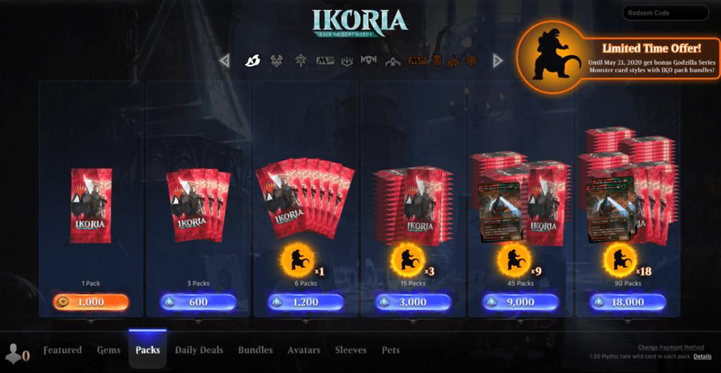 MTG Arena store packs screen