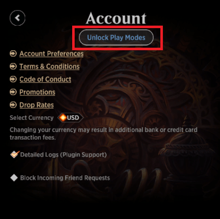 MTG Arena unlock play modes button