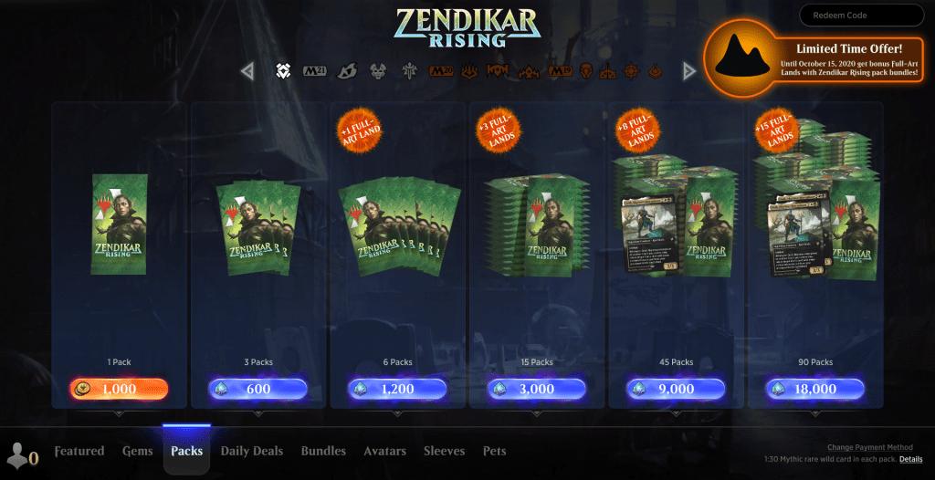 MTG Arena store ZNR packs