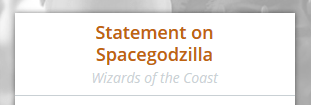 Statement on Spacegodzilla