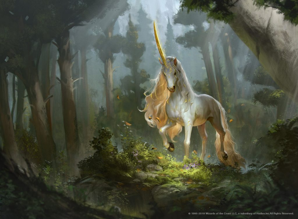 Prized Unicorn MTG card art by Rudy Siswanto