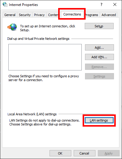 Connections tab and LAN Settings button in Internet Options