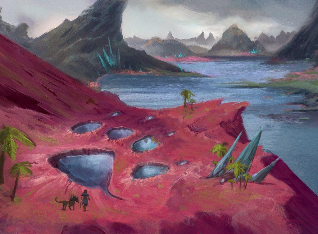 Footfall Crater MTG card art by Jenn Ravenna