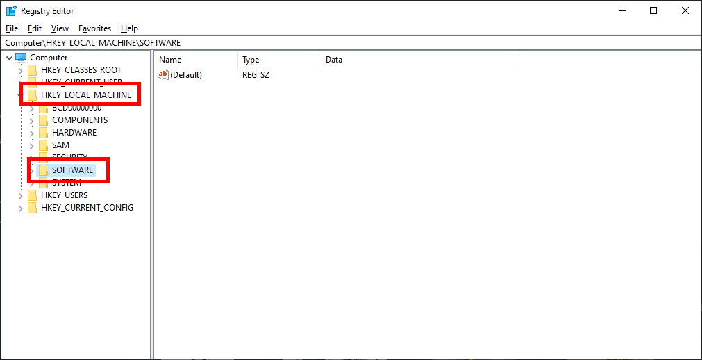 HKEY_LOCAL_MACHINE and Software folders in regedit.exe function